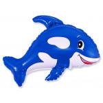 Шар (35''/89 см) Фигура, Веселый кит, Синий, 1 шт.